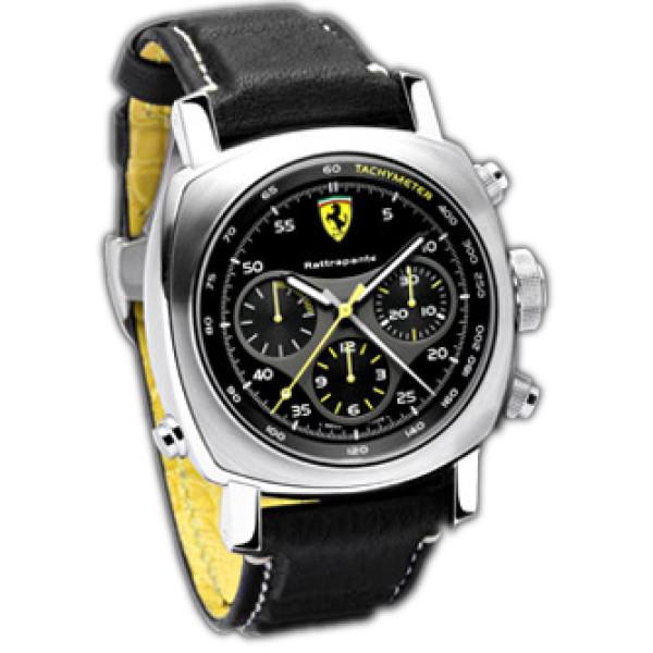 Officine Panerai watches Ferrari Scuderia Rattrapante (SS / Black / Leather)