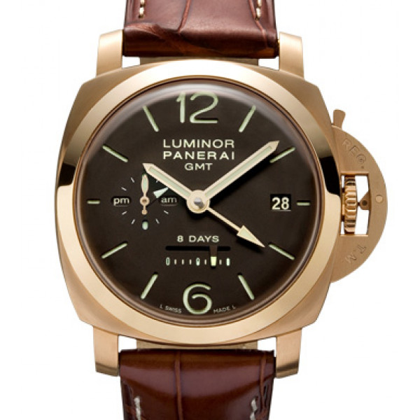 Officine Panerai watches Luminor 1950 8 Days GMT (RG / Brown / Leather)