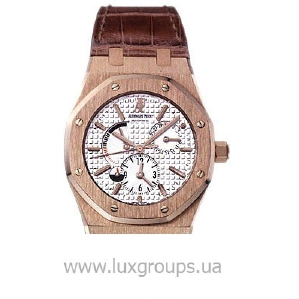 Audemars Piguet watches Royal Oak Dual Time (PG / Silver / Leather)