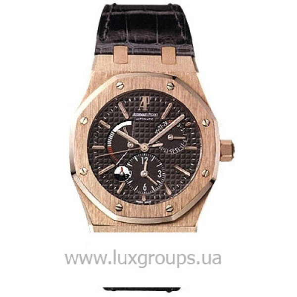 Audemars Piguet watches Royal Oak Dual Time (PG / Black / Leather)