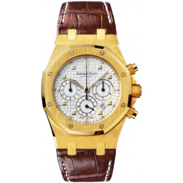 Audemars Piguet watches Royal Oak Chronograph (YG / White / Leather)