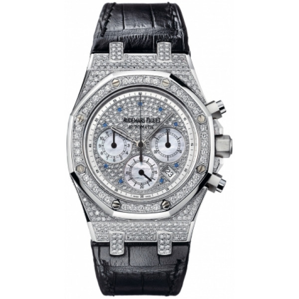 Audemars Piguet watches Royal Oak Chronograph (WG-Diamonds / Diamonds-Blue / Leather)
