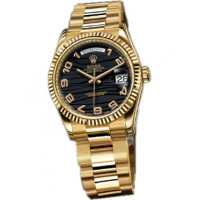 Rolex watches Day-Date 36mm Oyster Yellow Gold - Fluted Bezel black dial Arabic