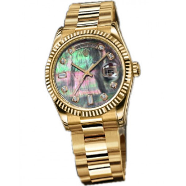 Rolex watches Day-Date 36mm Oyster Yellow Gold - Fluted Bezel dark pearl dial Diamond