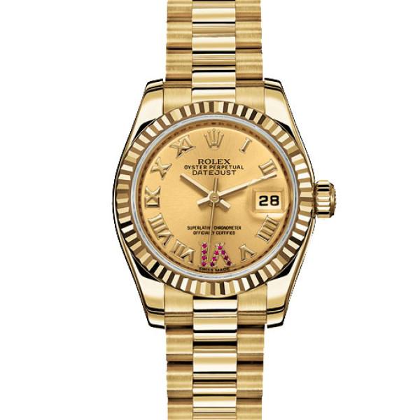 Rolex watches Datejust Lady 26 mm - Yellow Gold Fluted Bezel - President Bracelet