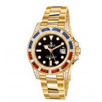 Rolex watches GMT Master II Yellow Gold Diamonds Sapphires Rubies Black  Dial