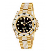 Rolex watches GMT Master II Yellow Gold Black Diamonds Bracelet Diamonds