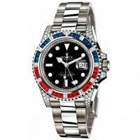 Rolex watches GMT Master II White Gold diamonds with sapphires rubies