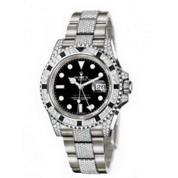 Rolex watches GMT Master II White Gold diamonds and  black sapphires