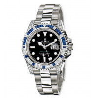 Rolex watches GMT Master II White Gold Black Dial Sapphires