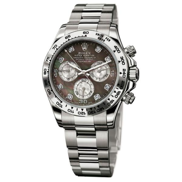 Rolex watches Daytona White Gold - Bracelet dark mother of pearl  diamonds dial