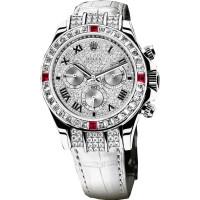 Rolex watches Daytona White Gold - Diamond Bezel 4 Rubies Pave Diamonds Dial