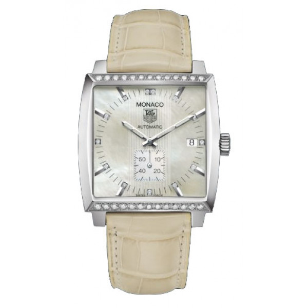 Tag Heuer watches Monaco Automatic (SS-Diamonds / MOP / Leather)