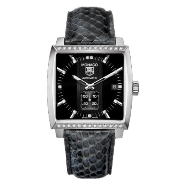 Tag Heuer watches Monaco Automatic (SS-Diamonds / Black / Leather)