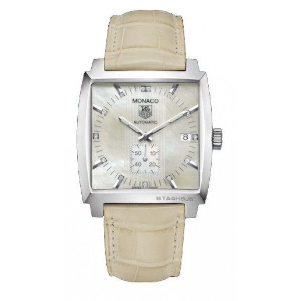 Tag Heuer watches Monaco Automatic (SS / MOP-Diamonds / Leather)