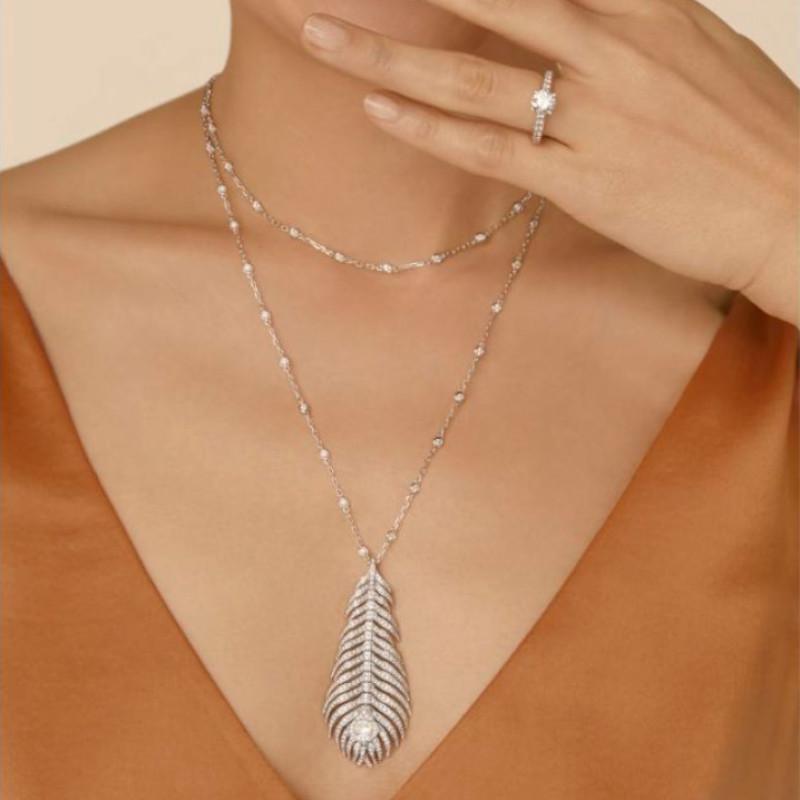 Колье Boucheron Plume de Paon, белое золото, бриллианты
