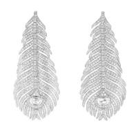 Серьги Boucheron Plume de Paon, белое золото, бриллианты