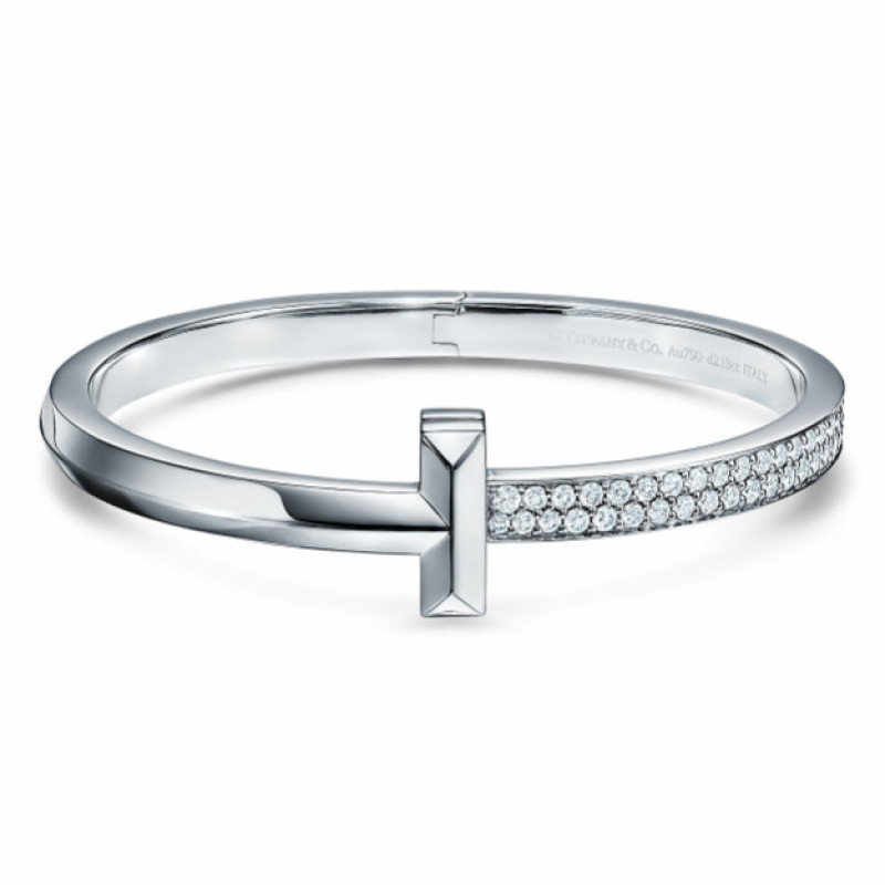 Браслет Tiffany & Co. Tiffany T, белое золото, бриллианты
