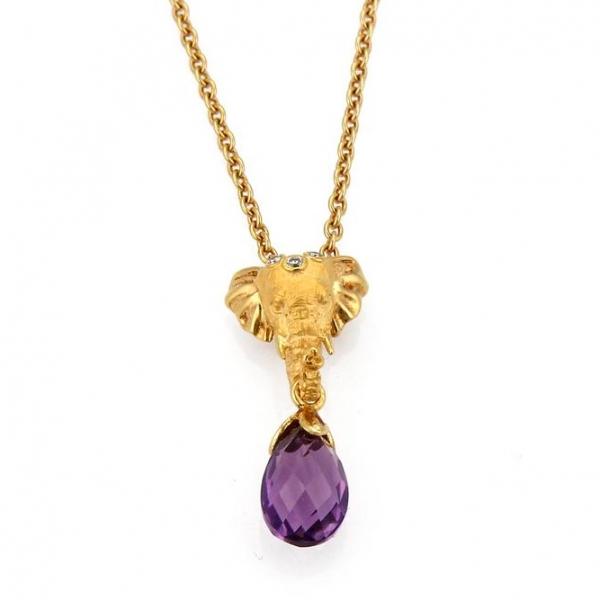 Подвеска Carrera y Carrera Elephant, желтое золото, аметист, бриллианты