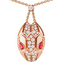 Колье Bvlgari Serpenti, розовое золото, бриллианты, рубины