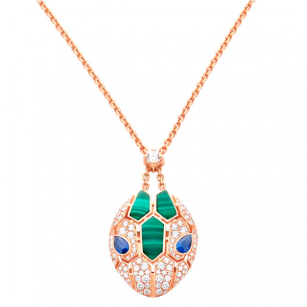 Колье Bvlgari Serpenti, розовое золото, бриллианты, сапфиры, малахит