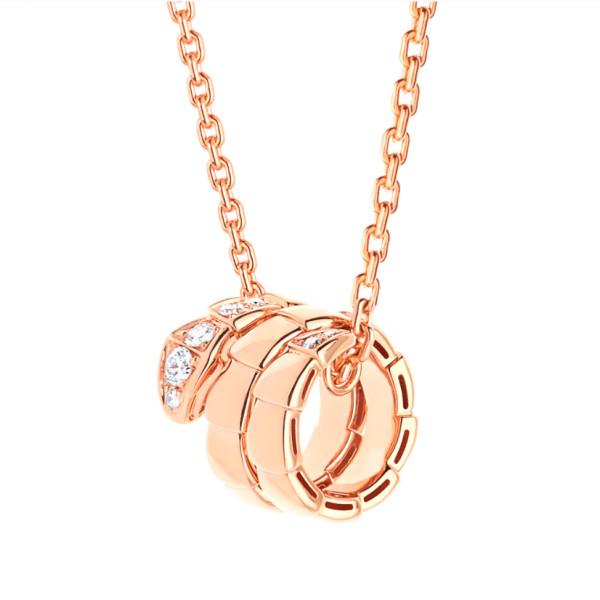 Подвеска Bvlgari Serpenti Viper, розовое золото, бриллианты