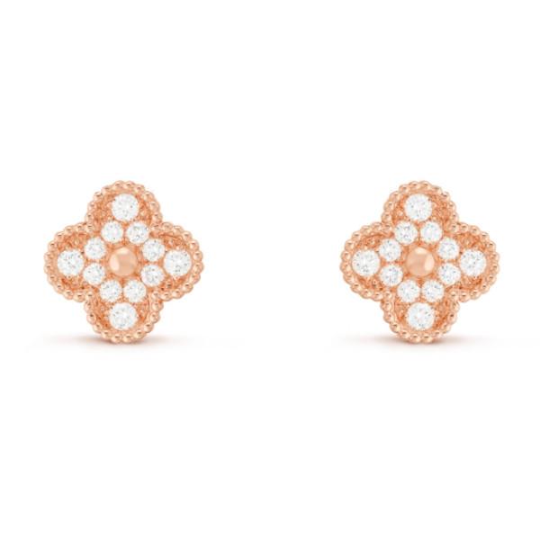 Серьги Van Cleef & Arpels Vintage Alhambra, розовое золото, бриллианты