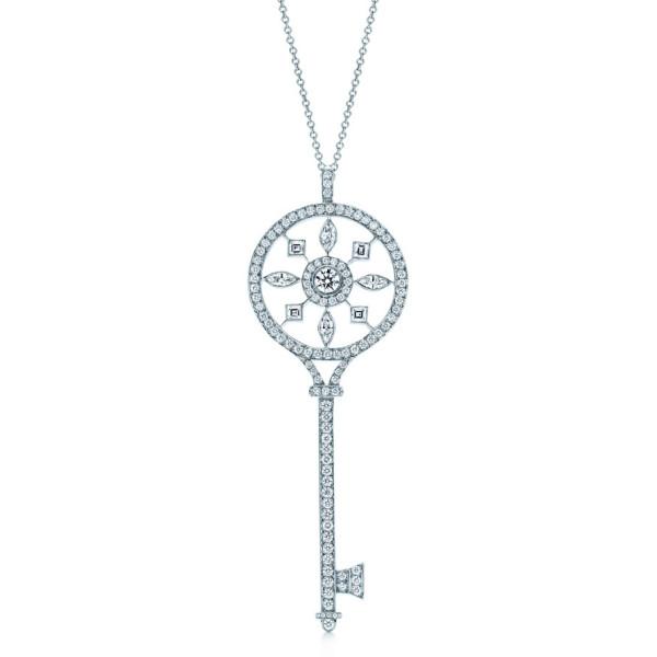 Подвеска-ключ Tiffany & Co, платина, бриллианты