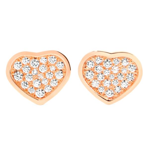 Серьги Chopard Happy Hearts, розовое золото, бриллианты