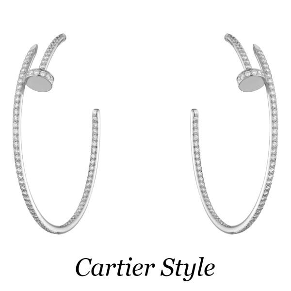 Серьги Cartier Juste Un Clou, белое золото, бриллианты