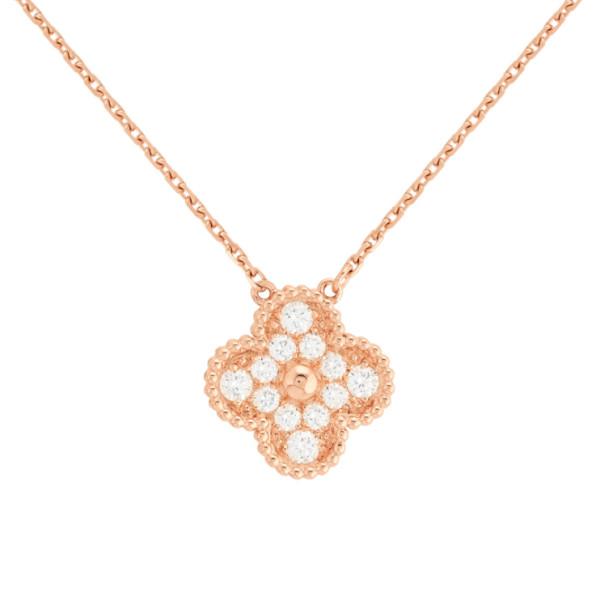 Подвеска Van Cleef & Arpels Vintage Alhambra, розовое золото, бриллианты
