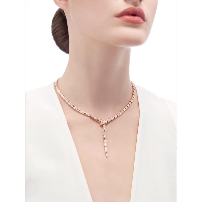 Колье Bvlgari Serpenti Viper, розовое золото, бриллианты