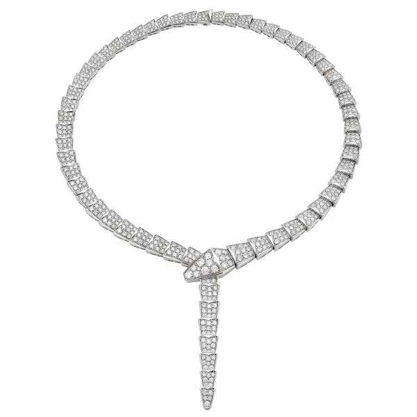 Колье Bvlgari Serpenti Viper, белое золото, бриллианты