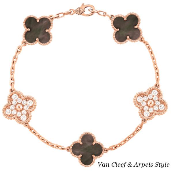 Браслет Van Cleef & Arpels Vintage Alhambra, розовое золото, бриллианты, перламутр