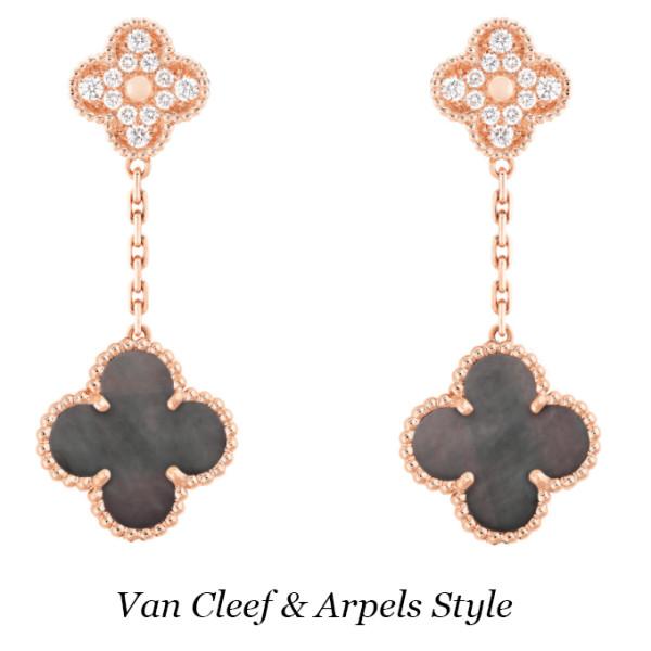 Серьги Van Cleef & Arpels Vintage Alhambra, розовое золото, бриллианты, перламутр