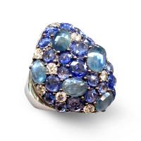 Кольцо Crivelli, белое золото, бриллианты, сапфиры