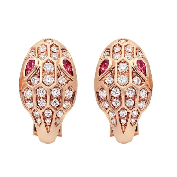 Серьги Bvlgari Serpenti, розовое золото, бриллианты, рубины
