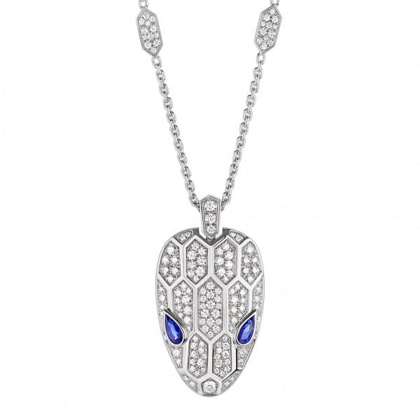 Ожерелье Bvlgari Serpenti, белое золото, бриллианты, сапфиры