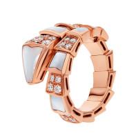 Кольцо Bvlgari Serpenti Viper, розовое золото, бриллианты, перламутр