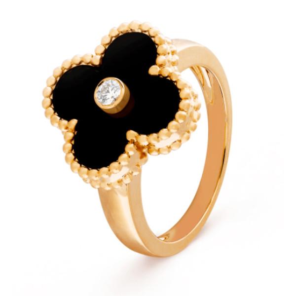 Кольцо Van Cleef & Arpels Vintage Alhambra, желтое золото, оникс, бриллиант