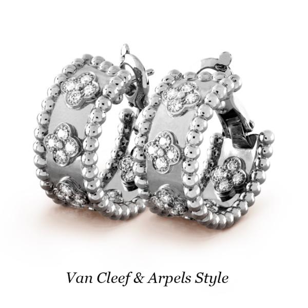 Серьги Van Cleef & Arpels Perlée, белое золото, бриллианты
