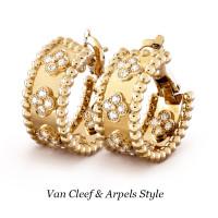Серьги Van Cleef & Arpels Perlée, желтое золото, бриллианты