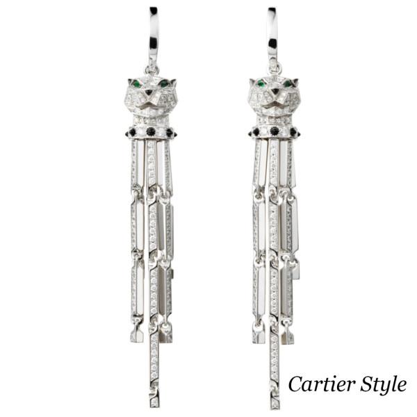 Серьги Panthere de Cartier, белое золото, бриллианты, оникс, изумруд