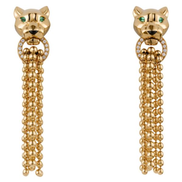 Серьги Panthere de Cartier, желтое золото, бриллианты, оникс
