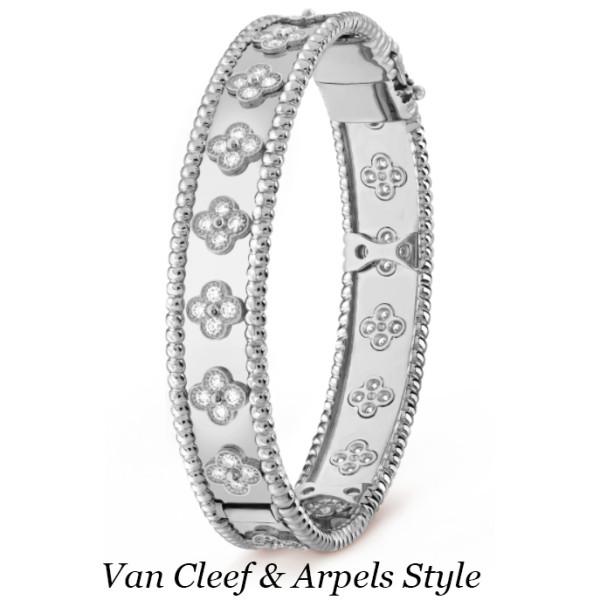 Браслет Van Cleef & Arpels Perlée, белое золото, бриллианты