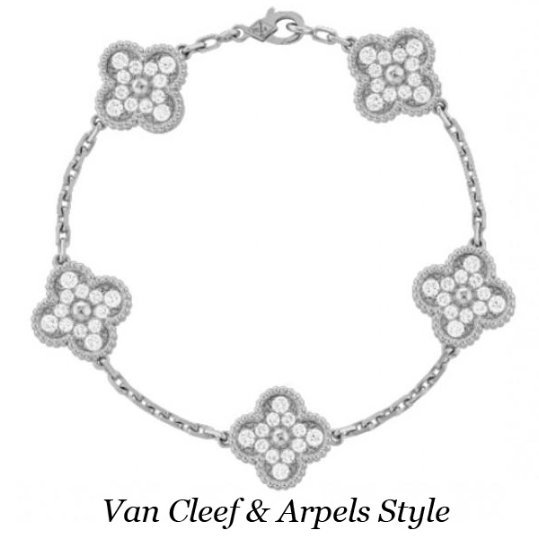 Браслет Van Cleef & Arpels Vintage Alhambra, белое золото, бриллианты