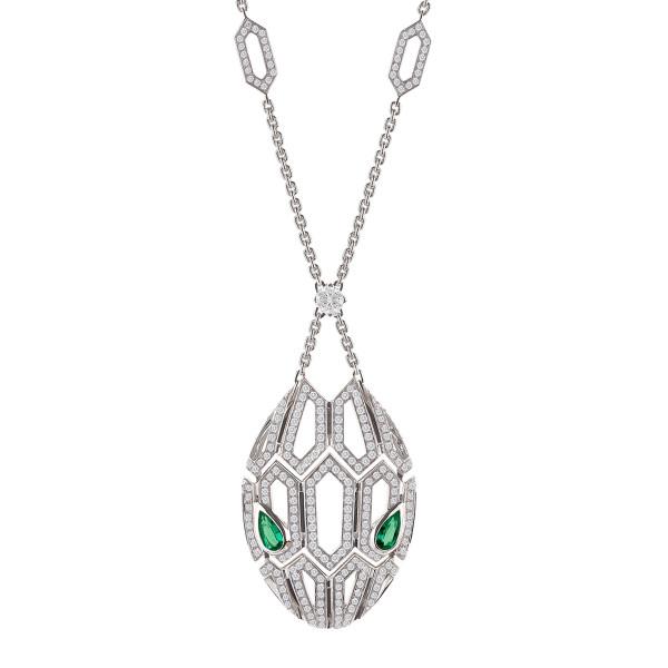 Колье Bvlgari Serpenti, белое золото, бриллианты, сапфиры