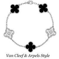 Браслет Van Cleef & Arpels Alhambra, белое золото, бриллианты, оникс
