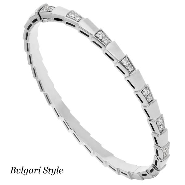 Браслет Bvlgari Serpenti, белое золото, бриллианты