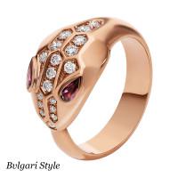 Кольцо Bvlgari Serpenti, розовое золото, бриллианты, рубины